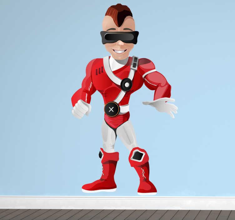TenStickers. Naklejka dziecięca gogle supermana. Naklejka dekoracyjna, która przedstawia supermana w czerwonym stroju i w czarnych specjalnych goglach, dzięki którym może widzieć podczerwień.