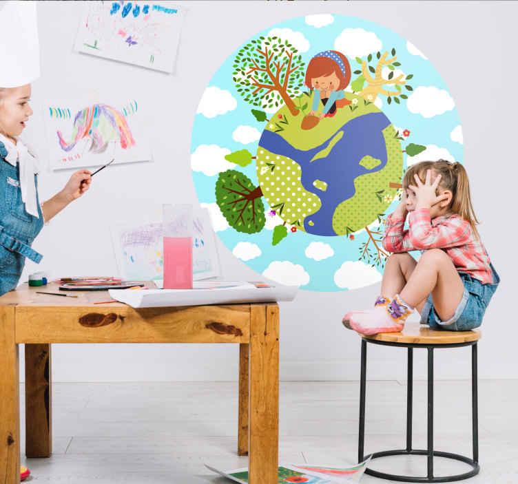 TenStickers. Naklejka świat i dziewczynka. Naklejka na ścianę przedstawiająca kulę ziemską z dziewczynką sadzącą kwiaty. Dla wszystkich miłośników ekologii oraz natury.