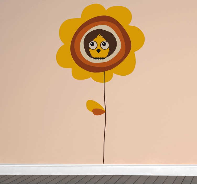TenVinilo. Vinilo infantil pájaro y flor. Adhesivo de lo que podría ser un gorrión sentado y descansando en un girasol de largo tall con tonos marrones.