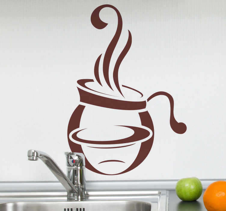TenStickers. Coffee Pot Kitchen Sticker. Kitchen Stickers - Design of a pot of steaming coffee. Decorate your kitchen appliances, walls and cupboards.Decals great for styling your home.
