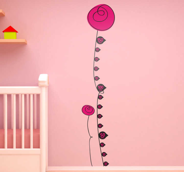 TENSTICKERS. 花の高さチャートデカール. あなたの子供の寝室を飾るために花の高さのチャートの壁のステッカーとその高さを測定する!花の子供のステッカーで家族の他の人の身長を測定することもできます。