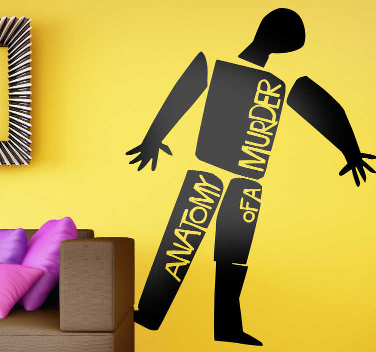 TenStickers. Anatomy of a murder cinema decal. Fantastic cinema themed wall sticker with a design with the graphic image of the movie poster starring James Stewart. Easy to apply.