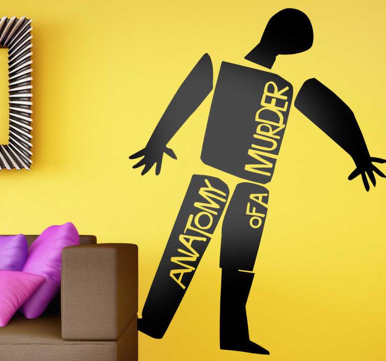 """TenStickers. Sticker film Anatomy of a Murder. Een leuke muursticker gebaseerd op de bekende misdaad / drama film uit 1959 """"Anatomy of a murder"""", met James Stewart in de hoofdrol."""
