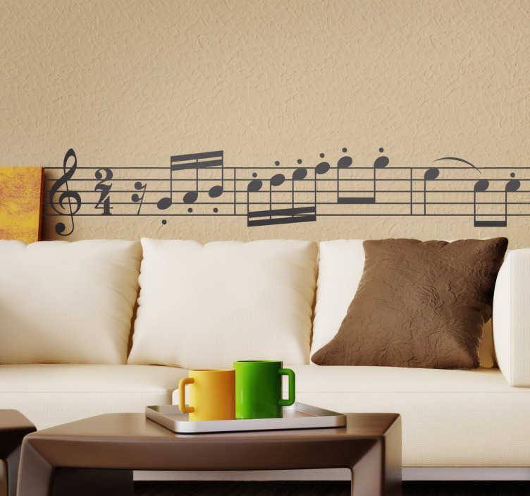 TenVinilo. Vinilo decorativo Beethoven sinfonía. Adhesivo con algunas notas de la primera sinfonía, cuarto movimiento del compositor alemán.