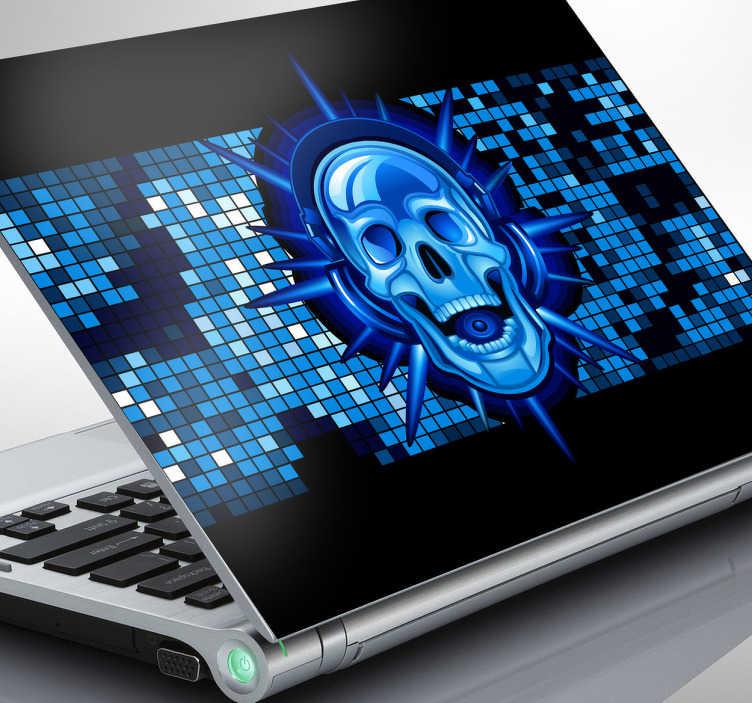 TenVinilo. Adhesivo portatil DJ esqueleto. Espectacular vinilo para ordenador de una calavera amante de la música. Personaliza tu ordenador portátil con este adhesivo de tonos azules.
