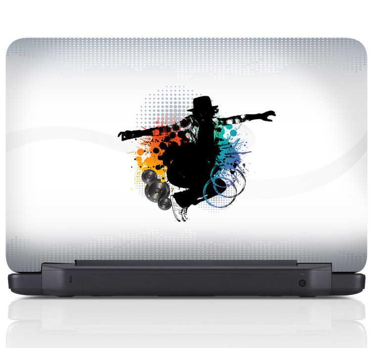 TenStickers. Sticker decorativo para portátil street dance. Autocolante decorativo para portátil de música de DJ com a temática street dance e super colorido, ideal para tornares o teu PC numa peça exclusiva.