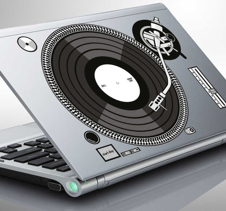 TenStickers. Laptop sticker of a DJs turntable. Decal sticker of a DJs turntable for those that love DJs and their work! * Depending on the size of the device the proportions may vary slightly.