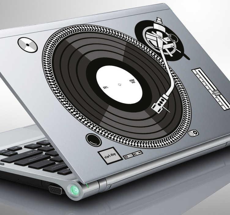 TenStickers. Laptop autocolant de o placă turnantă djs. Decal autocolant de o placă turnantă djs pentru cei care iubesc djs și munca lor! * În funcție de dimensiunea dispozitivului, proporțiile pot varia ușor.