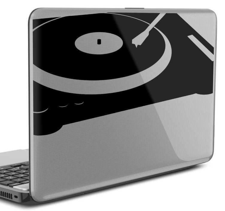 sticker pc portable tourne disque tenstickers. Black Bedroom Furniture Sets. Home Design Ideas