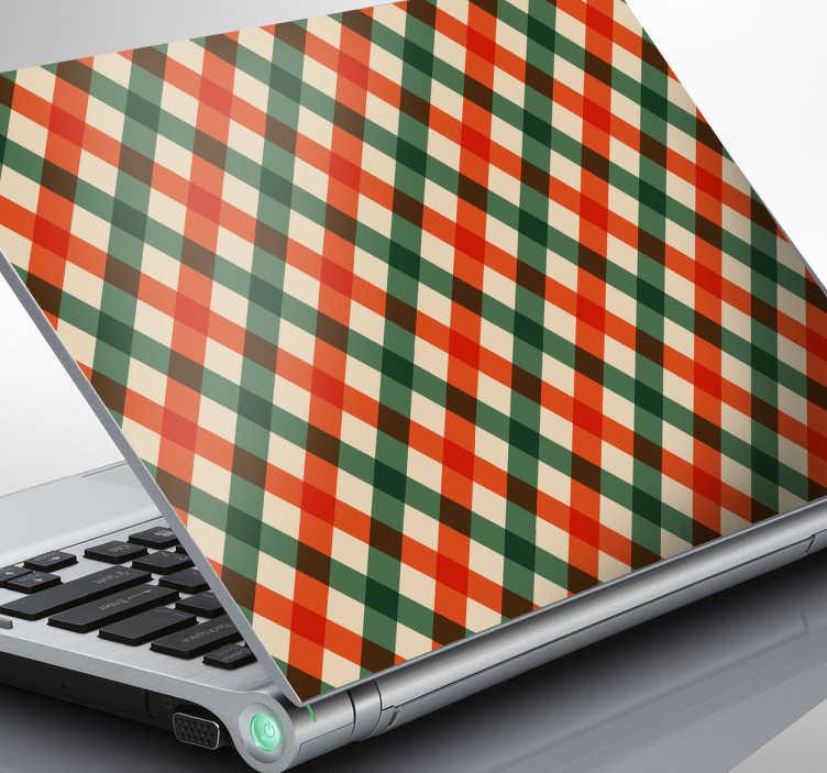 Naklejka na laptopa zielono-pomarańczowa krata