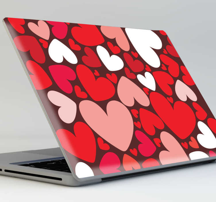 TenStickers. Sticker decorativo corações coloridos laptop. Sticker decorativo repleto de corações coloridos de diferentes tamanhos, perfeito para decorar o seu computador portátil com o tema amor.
