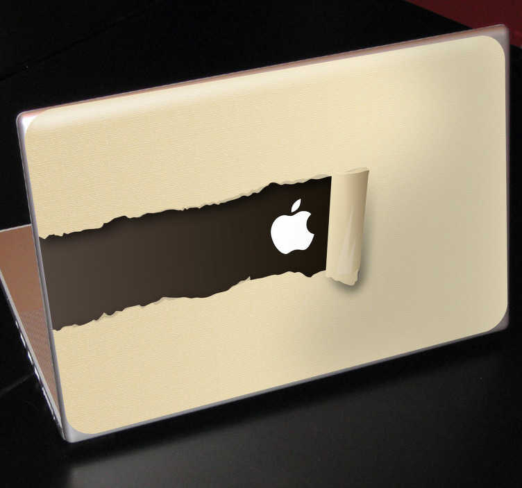 TenStickers. Torn Paper MacBook Sticker. Create a torn paper illusion that reveals the Apple logo with this design. A fascinating decal from our collection of MacBook stickers.