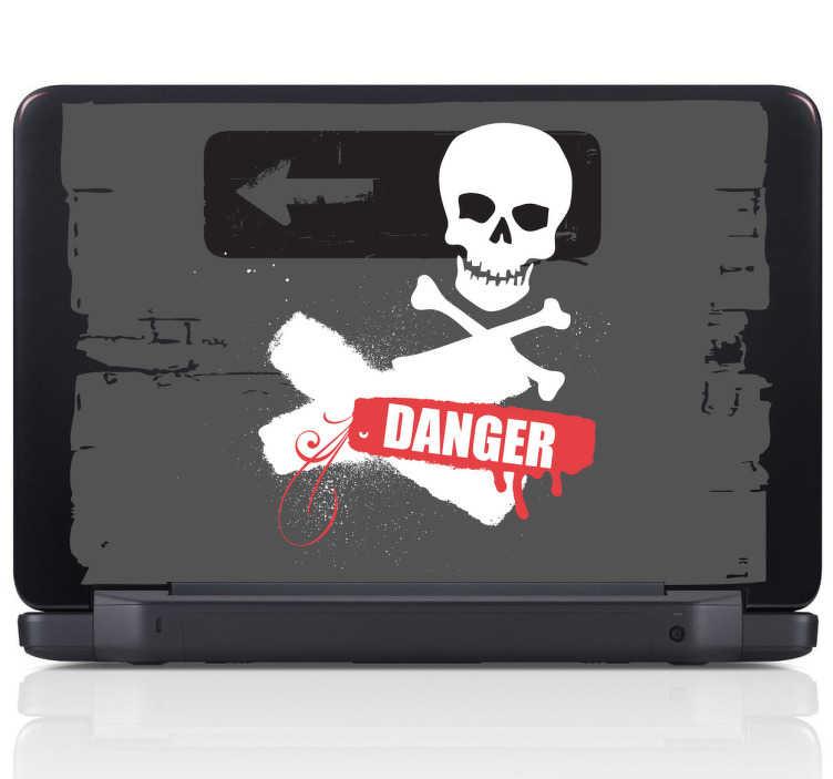 TenStickers. Skin adesiva pc danger grunge. Sticker decorativo con il quale potrai tenere alla larga gli sconosciuti dal tuo computer.