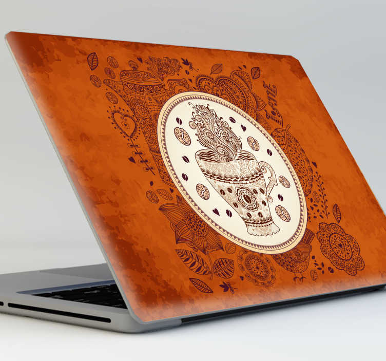 TenStickers. Sticker laptop koffie. Deze laptopsticker omtrent een bruine achtergrond met moderne versieringen en een koffiekop in het midden.
