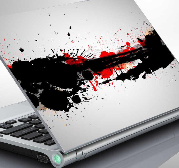 TenStickers. Naklejka eksplozja farby. Udekoruj swego laptopa w orginalny sposób. Naklejka na laptopa imitująca rozpryśnięta czarną i czerwoną farbę.