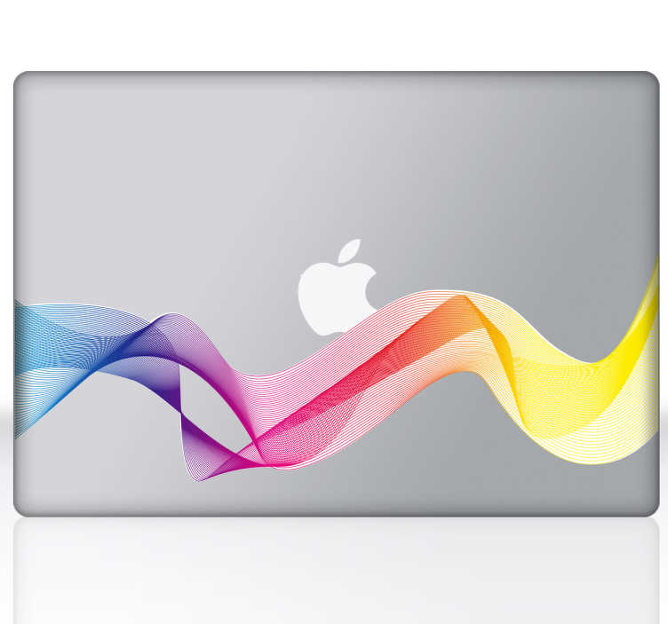 TenStickers. Naklejka na laptopa tęczowa fala. Odmień design swego Macbooka bądź laptopa za sprawą tej pełnej delikatnych kolorów naklejki. Idealna dekoracja dla kobiecych sprzętów elektronicznych.