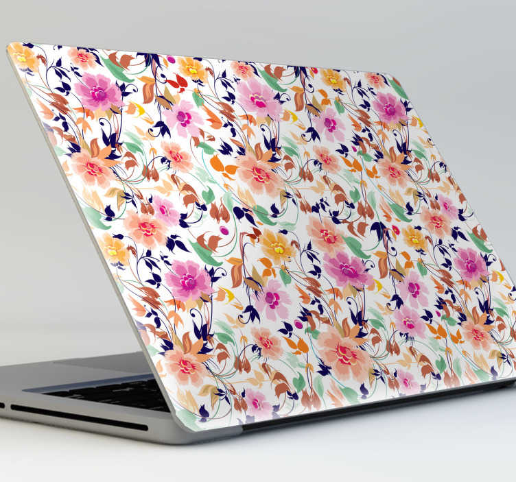 TenStickers. Floral Pattern Laptop Sticker. A lovely flower laptop sticker for decorating your device! Customise your laptop with this beautiful colourful decal while protecting it from scratches and dust. This vibrant design fits around your laptop's lid no matter the size and gives it that special touch that it's missing.