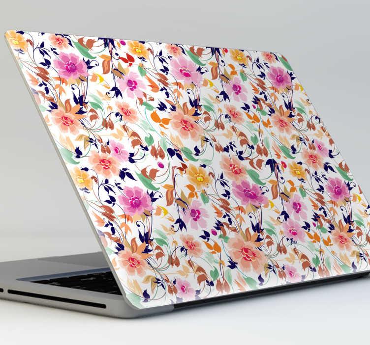 TenStickers. Květinový vzor laptop nálepka. Krásná samolepka na laptop s květinami pro zdobení vašeho přístroje! Přizpůsobte si svůj notebook tímto krásným barevným obtiskem a zároveň ho chráňte před poškrábáním a prachem. Tento živý design se hodí k víku vašeho notebooku bez ohledu na velikost a dává mu tak zvláštní vzhled, který mu chybí.