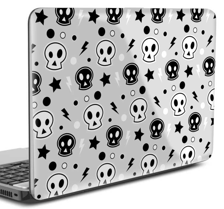 TenStickers. 펑크 두개골 노트북 스티커. 음악 노트북 스티커 -이 멋진 디자인으로 노트북을 사용자 정의하십시오. 락이나 펑크 음악을 좋아하고 항상 랩톱에 있다면 랩톱 스킨으로 랩핑하십시오.