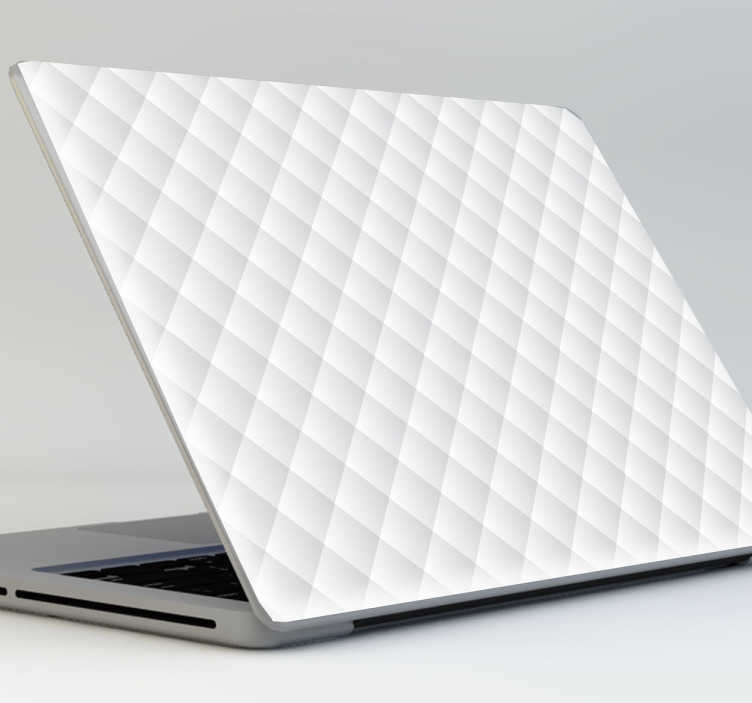 TenStickers. White quiltted laptop sticker. White quilted laptop sticker with a glamorous and shiny effect to your laptop.