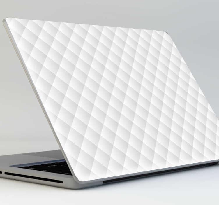 TENSTICKERS. 白いキルティングノートパソコンのステッカー. あなたのラップトップを目立たせるのに最適な、魅力的で光沢のあるエフェクトを備えた白いキルティング付きラップトップステッカー。スタイリッシュなノートパソコンのスキンは、あなたのラップトップを保護するだけでなく、それを飾るために耐久性のあるバブルのビニール製。