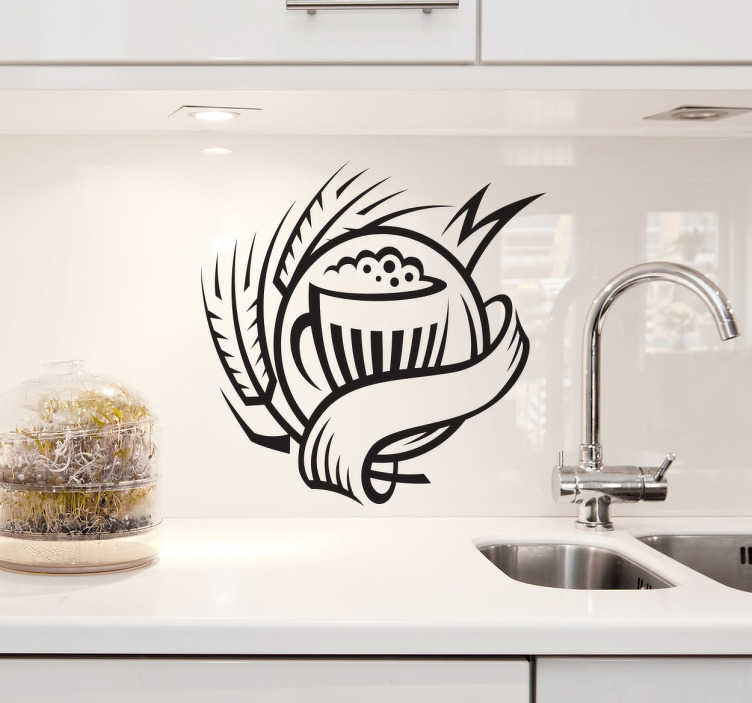 TenStickers. Beer Logo Kitchen Sticker. Kitchen Stickers - Emblem design of a pitcher of beer. Decorate your kitchen appliances, walls and cupboards.Decals great for styling your home.