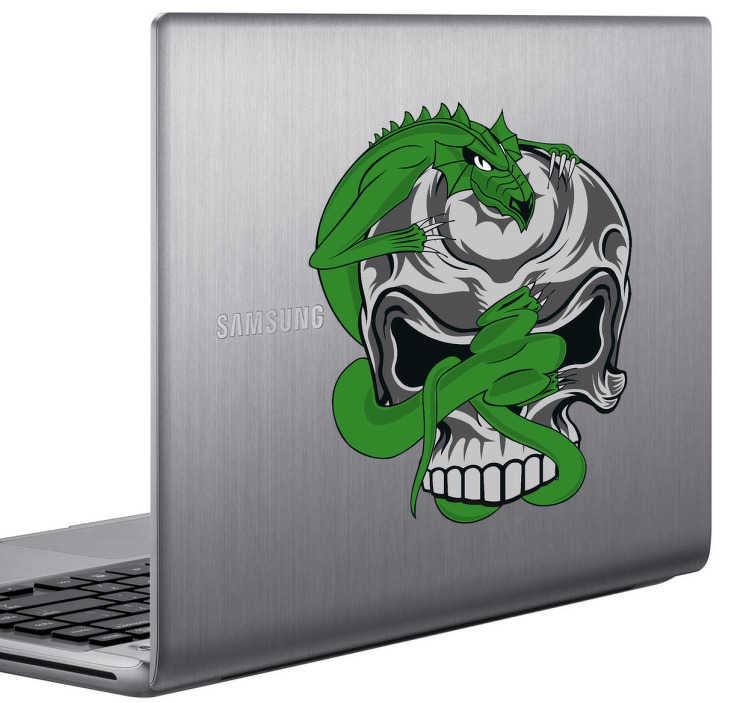 TenStickers. Sticker laptop. Deze laptopsticker omtrent een grimmig ontwerp van een schedel met een angstaanjagend wezen. Ideale manier van personalisatie.