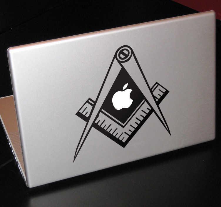Tenstickers. Suorakulma ja harppi läppäritarra. MacBook tietokoneille suunniteltu läppäritarra jossa suorakulma ja harppi omenalogon ympärillä