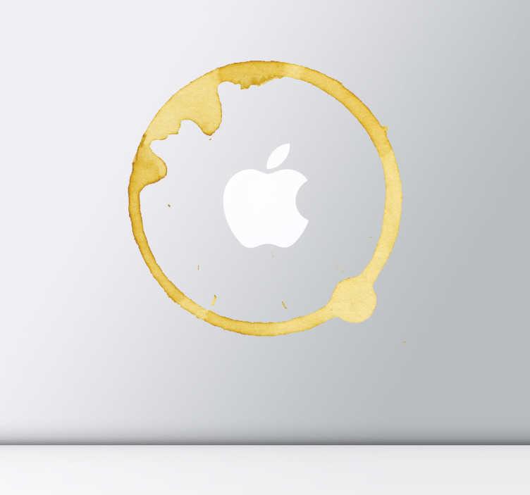 TenStickers. Apple Mac koffie vlek sticker. Je kent dat wel als je je koffie ergens oplegt.. Meteen een koffievlek.. Met deze sticker lijkt het alsof er altijd een koffievlek zit op jouw laptop!