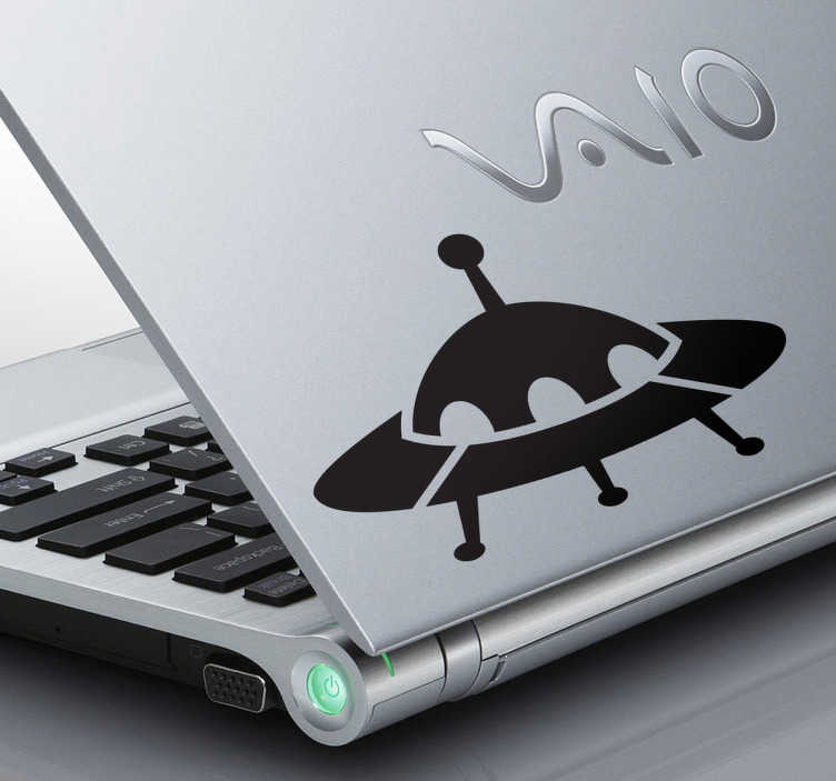 TenStickers. UFO Craft Laptop Sticker. Laptop Stickers - Illustration of UFO to personalise your laptop or personal device. Available in various sizes and in 50 colours.