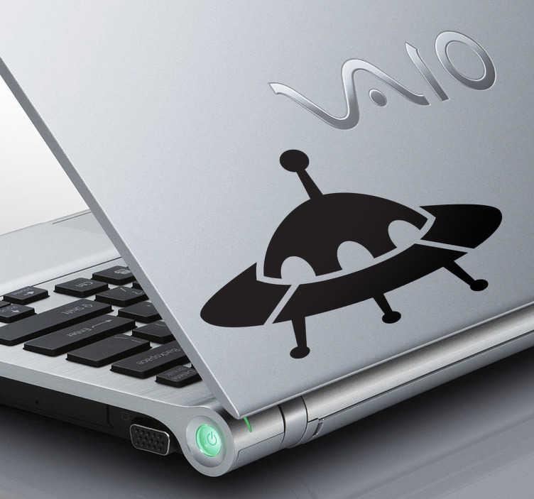 TenStickers. Naklejka na laptop UFO. Naklejka dekoracyjna na laptop, która przedstawia latający spodek kosmitów.*W zależności od typu i wymiaru laptopa, rozmiar naklejki może się nieznacznie różnić.