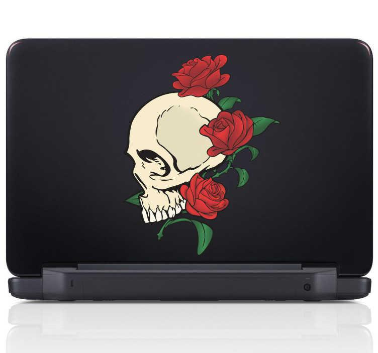 TenStickers. Laptop sticker dødningehoved og roser. Du kan dekorere din Mac eller laptop med dette cool design af et dødningehoved med tre røde roser fra vores samling af MacBook og computer klistermærker