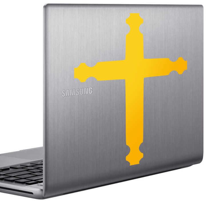 TenStickers. Cross Laptop Decal. A monochrome Christian wall art sticker illustrating a cross to decorate your electronic device and show your devotion to God.