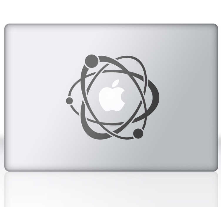 TenStickers. 原子与电子笔记本贴纸. 科学设计,为您的笔记本电脑或macbook带来一丝创意。您可以自定义平板电脑,笔记本电脑,ipad,macbook或任何其他具有光滑表面的电子设备。围绕原子的电子群,即苹果标志。