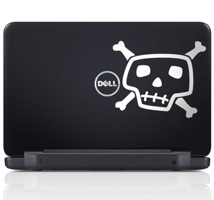 TenStickers. Sticker decorativo caveira laptop. Sticker decorativo ilustrando uma caveira pirata, aplicável em qualquer MacBook ou outro computador portátil!