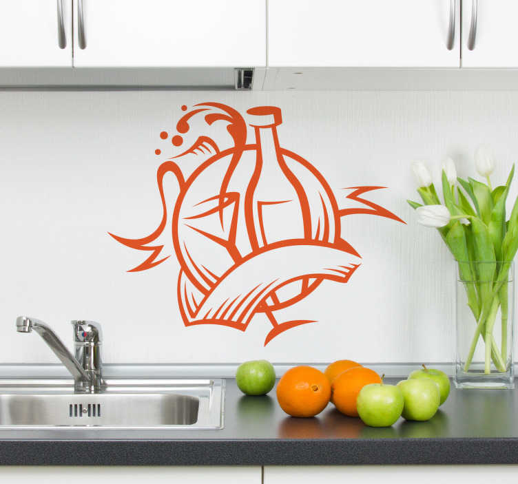 TenVinilo. Vinilo decorativo botella de vino. Vinilodecorativo cocina. Decora los armarios, la pared o los electrodomésticos de tu cocina con un adhesivo decorativo divertido y original, porque la mayoria de fiestas empiezan en la cocina, este es un logo de celebración con una botella de vino y una copa.