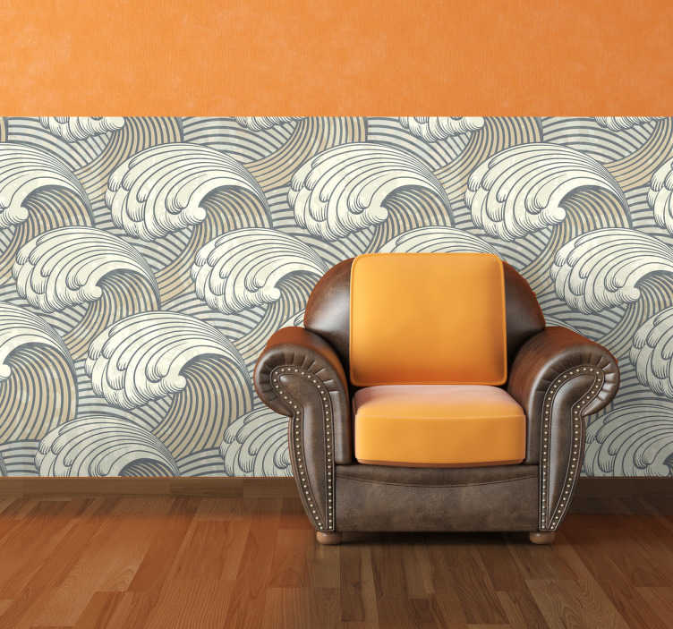 TenStickers. Welle Vinyltapete. Diese ausgefallene Tapete mit einer Vielzahl von großen Wellen verleiht jeder Wand eine besondere Note.