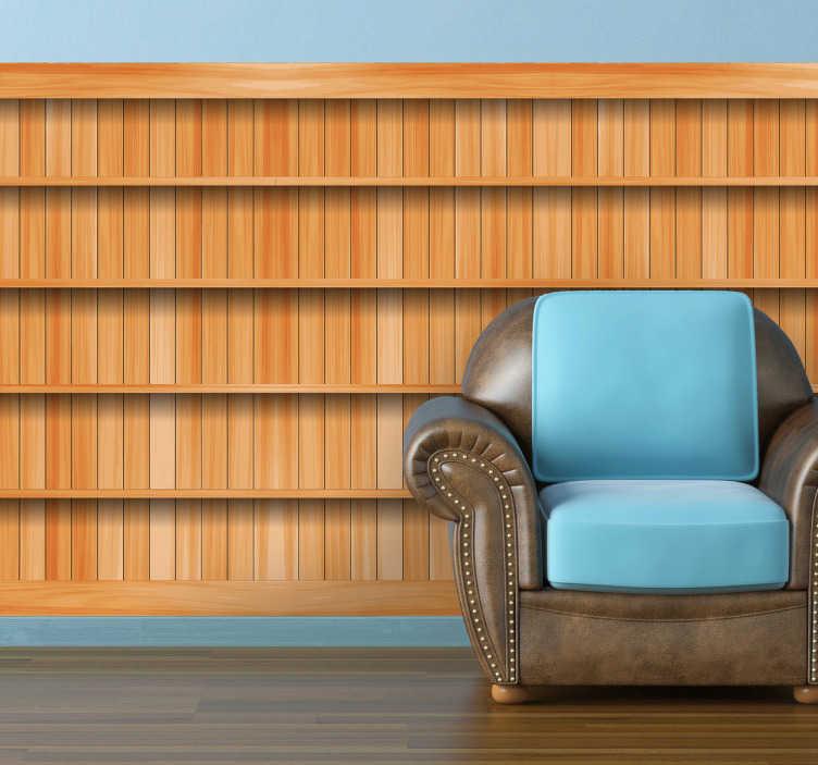 TenStickers. Fototapeta drewniana szafka. Naklejka dekoracyjna na ścianę imitująca drewnianą ścianę z szafkami. Pomysłowy pomysł na odmianę nowoczesnych przestrzeni.
