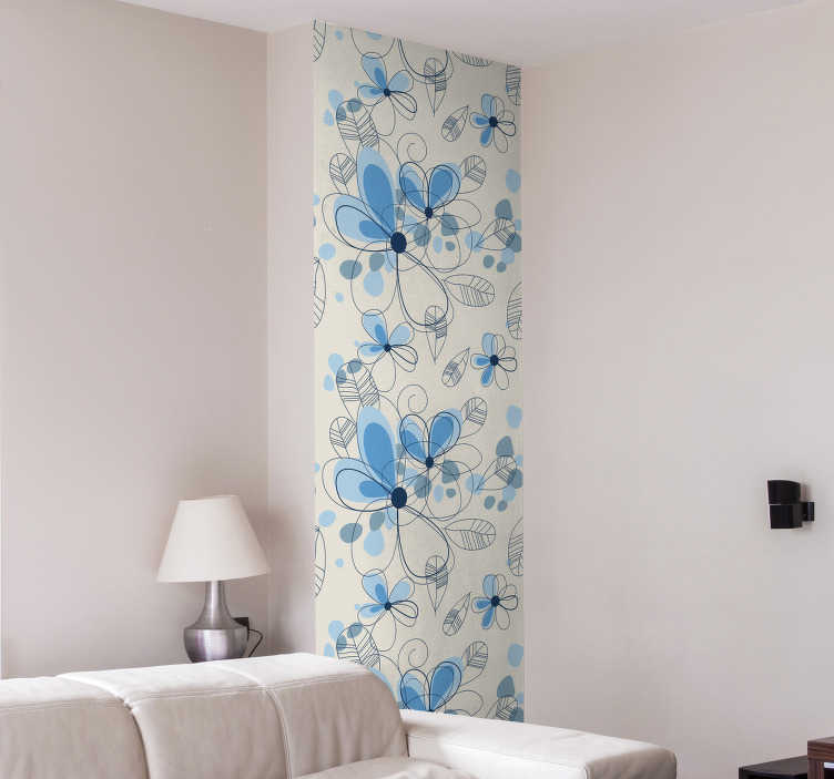 TenStickers. Sticker strook behang bloemen. Een strook zelfklevend behangpapier voor de decoratie van de muren in uw woning! Een strook behang met hierop getekende bloemen afgebeeld.