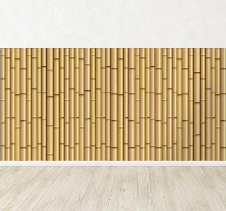 TenVinilo. Pieza vinilo fondo bambú. Vinilos orientales para vestir las paredes de tu casa con este original patrón adhesivo de unas hermosas cañas de bambú.