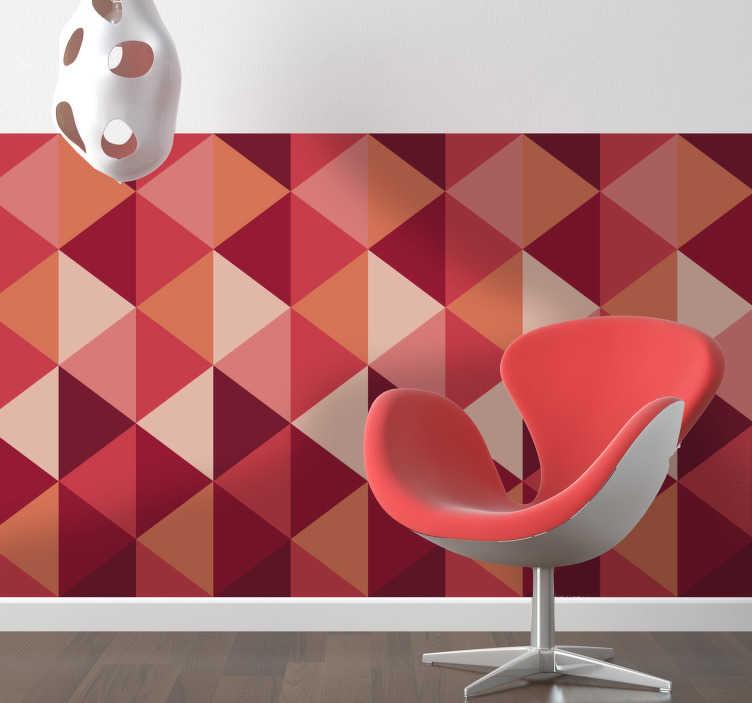 TenVinilo. Pieza vinilo geometría triángulos. Estructura geométrica adhesiva de rombos con tonos cálidos para darle un toque moderno a tus paredes.