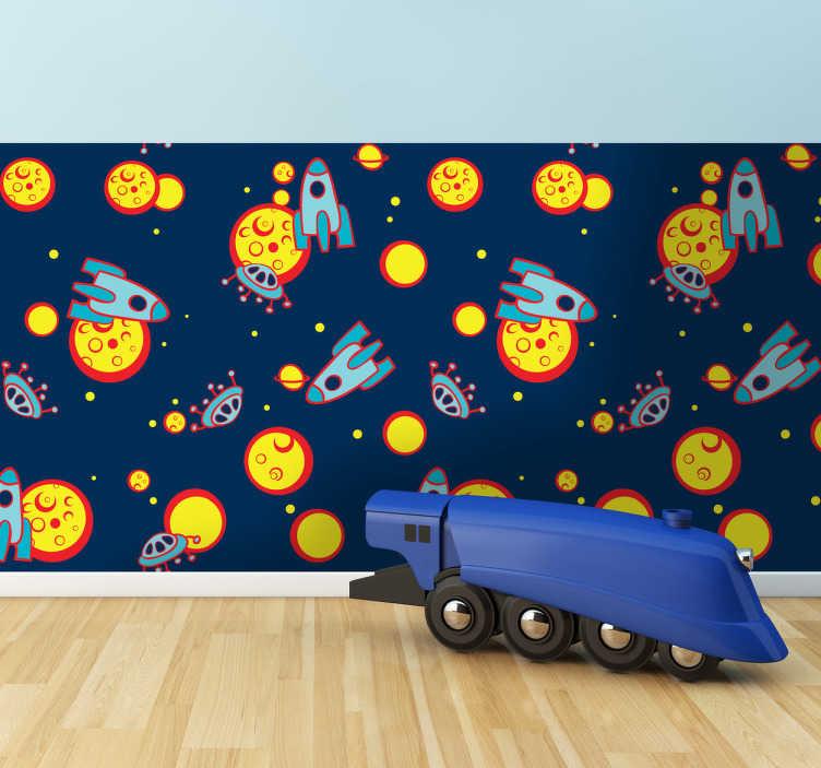 TenStickers. Naklejka dziecięca kosmos. Naklejka dekoracyjna do dekoracji pokoju małego astronauty. Obrazek przedstawia planety, księżyce, statki kosmiczne i latające spodki.
