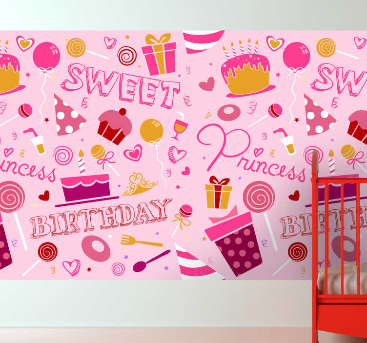TenStickers. Kinderen verjaardag prinses sticker. Droom van elk meisje dat een prinsesje wilt wakker worden met deze sticker op de muur! Je ziet een heel want vol met leuk ingepakte cadeautje.