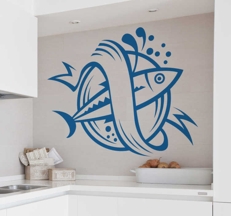 TenStickers. Sticker symbool vis. Keuken stickers - Symbool vissen design. Decoreer uw keuken en keukenbenodigdheden met deze leuke muursticker van een logo met een vis in verwerkt.