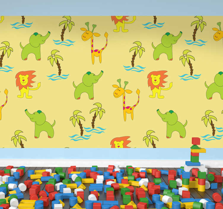 TenStickers. Kids Safari Vinyl Sheet Sticker. Vinyl Stickers - A fun and playful design with a safari theme ideal for decorating rooms for children.