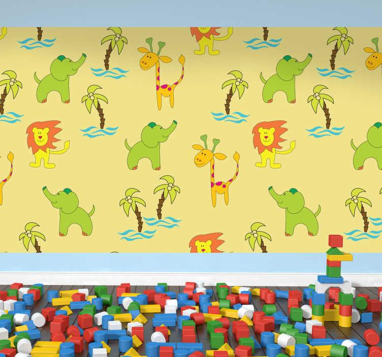 TenStickers. Fototapeta dziecięce safari. Naklejka na ścianę do pokoju dziecięcego przedstawiająca powtarzający  się motyw żyrafy, zielonego słonia oraz palmy z falami wody na żółtym tle.