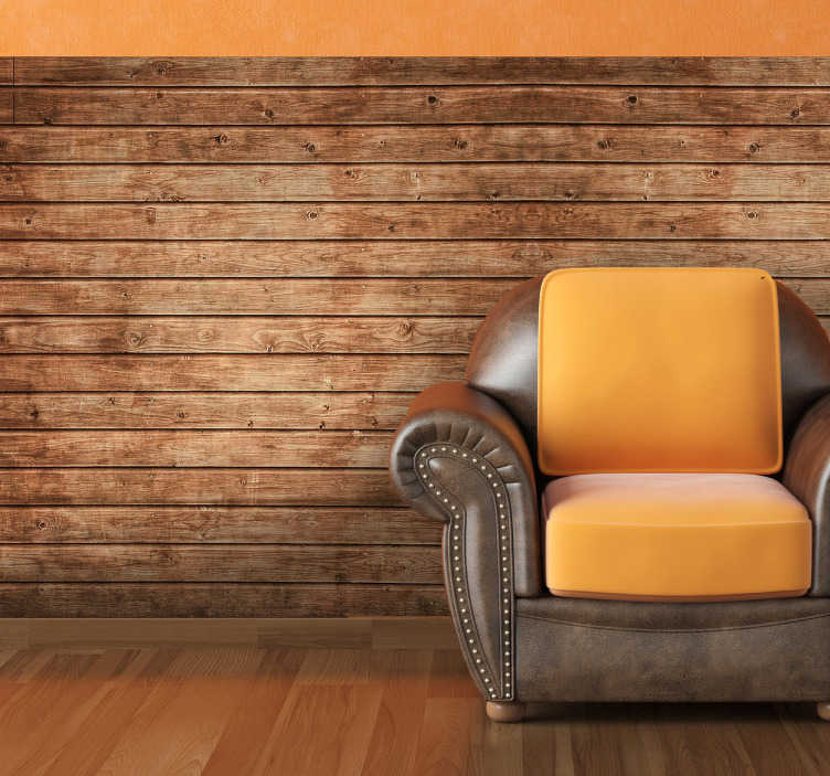TenStickers. Sticker behangrand houten plankjes. Deze muursticker met horizontale houten plankjes is zeer realistisch en is zeer mooi te gebruiken als behangrand voor uw muren.