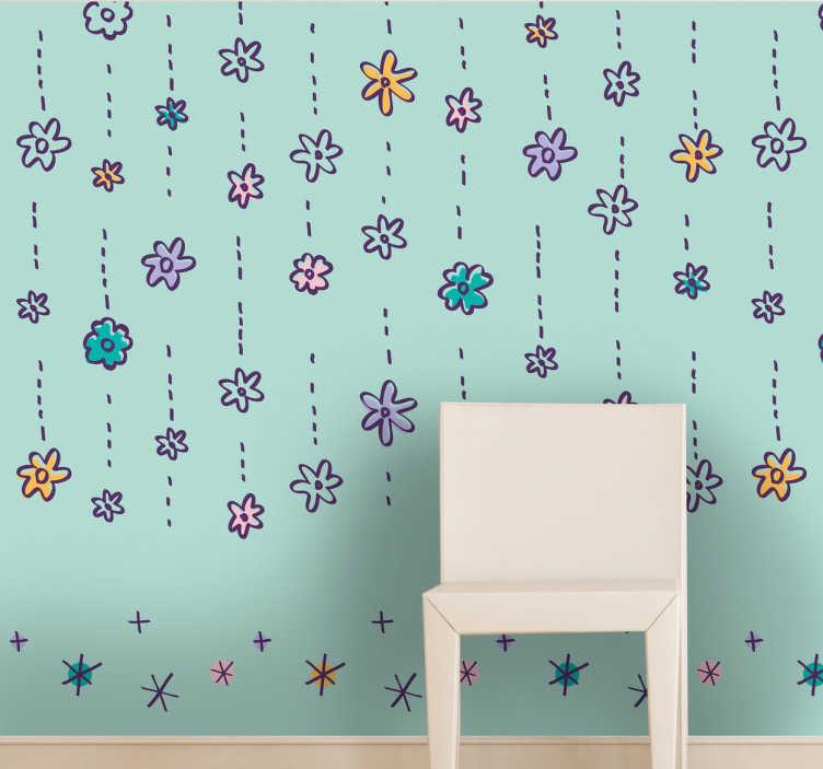 TenVinilo. Pieza vinilo lluvia de flores. Colorido patrón adhesivo floral para decorar los muros de tu casa de manera original.