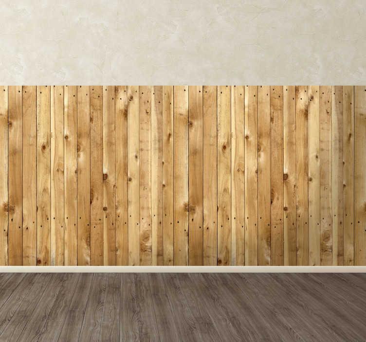 TenStickers. Sticker Behangrand houten planken. Gebruik deze behangrand van lichtje houten plankjes voor het decoreren van de muren in uw huis. Een muursticker van plankjes in een lichte kleur.