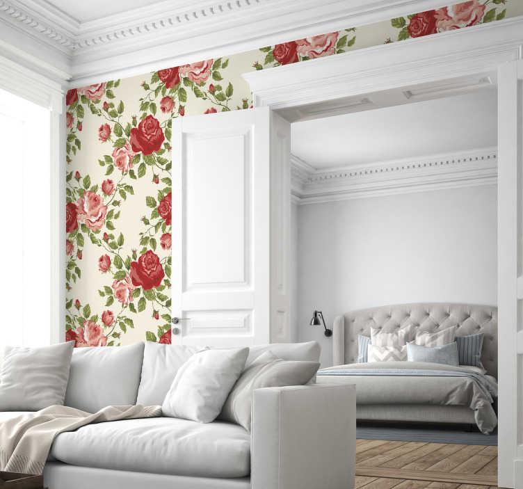 TenStickers. Naklejka tapeta róże. Ładna tapeta naklejka na ścianę przedstawiająca róże w odcieniach czerwieni. Klasyczne rozwiązanie na zmianę wnętrza.